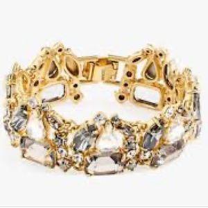 J.Crew Gold Silver Glass Drop Stone Bracelet